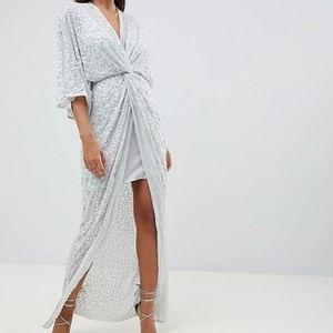 nwt asos sequin blue kimono maxi dress 6